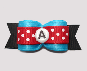 "#2939 - 5/8"" Dog Bow - Blue/Black/Red w/Dots, Choose Your Letter"