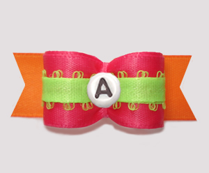 "#2940 - 5/8"" Dog Bow - Hot Pink/Lime/Orange, Choose Your Letter"