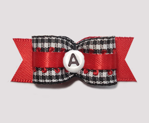 "#2942 - 5/8"" Dog Bow- B/W Gingham w/Red - Choose Your Letter"