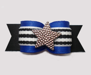 "#2950 - 5/8"" Dog Bow - For My Little Star! Blue/Black w/Stripes"