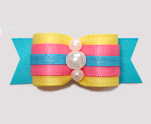 "#2953 - 5/8"" Dog Bow - Sweet Cotton Candy Pink/Yellow/Blue"