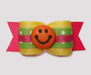 "#2956 - 5/8"" Dog Bow - Fun Colors, Happy Go Lucky Smiley"
