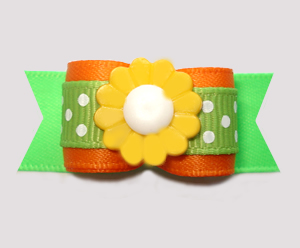 "#2957- 5/8"" Dog Bow - Vibrant Orange/Green/Yellow, Dots 'n Daisy"