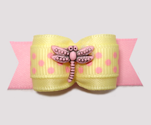"#2958- 5/8"" Dog Bow - Dragonfly Delight w/Dots, Baby Yellow/Pink"