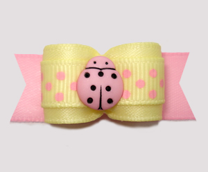 "#2959 - 5/8"" Dog Bow - Little Pink Ladybug, Baby Yellow/Pink"