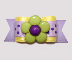 "#2962 - 5/8"" Dog Bow - Delightful Daisy 'n Dots, Purple/Yellow"