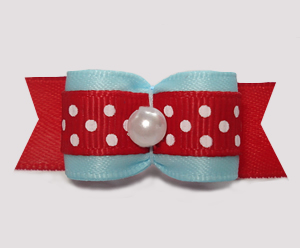 "#2966 - 5/8"" Dog Bow - Classic Light Blue w/ Cute Red/White Dots"