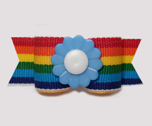 "#2969 - 5/8"" Dog Bow - Colorful Rainbow Stripes, Blue Flower"