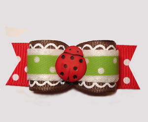 "#2971 - 5/8"" Dog Bow - Fancy Little Ladybug, Red/Green"