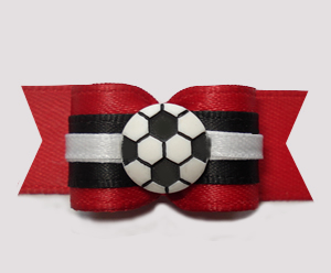 "#2974 - 5/8"" Dog Bow - Red with Black/White, Soccer Ball"
