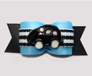 "#2975 - 5/8"" Dog Bow - Vroom! Black Car on Racing Stripes w/Blue"