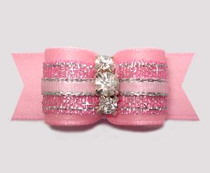 "#2979- 5/8"" Dog Bow- Gorgeous Pink Princess Shimmer, Rhinestones"