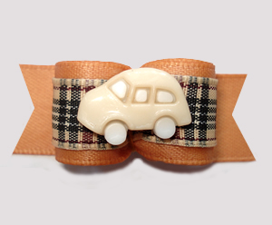 "#2984 - 5/8"" Dog Bow - Luxury Ride, Cream Car on Designer Plaid"