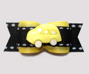 "#2985 - 5/8"" Dog Bow - Vroom Vroom, Sunny Yellow Car on Black"