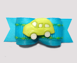 "#2986 - 5/8"" Dog Bow - Vroom Vroom, Lime Car on Electric Blue"