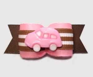 "#2989 - 5/8"" Dog Bow - Road Trip! Sweet Pink Car on Pink/Brown"