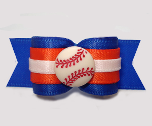 "#2991 - 5/8"" Dog Bow - Baseball, Blue with Orange"