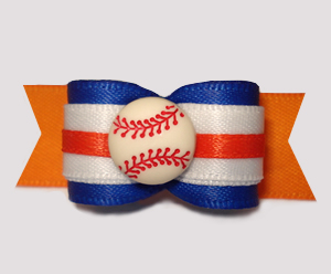 "#2992 - 5/8"" Dog Bow - Baseball, Blue on Orange"