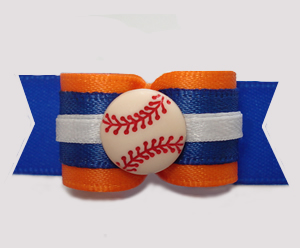 "#2993 - 5/8"" Dog Bow - Baseball, Orange on Blue"