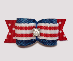 "#2994 - 5/8"" Dog Bow - Cowboy/Cowgirl Denim, Stripes 'n Dots"