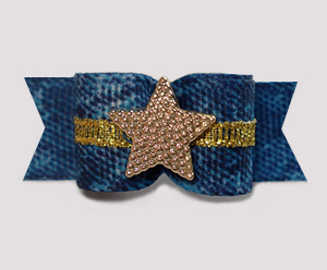 "#2995 - 5/8"" Dog Bow - Western Star, Denim & Gold"
