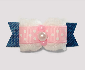"#2996 - 5/8"" Dog Bow - Pretty Cowgirl, Denim 'n Lace"