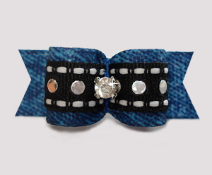 "#2999- 5/8"" Dog Bow- Cowboy/Cowgirl Denim 'n Sequins, Rhinestone"