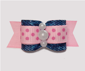 "#3000 - 5/8"" Dog Bow - Pretty Cowgirl, Baby Pink/Denim"