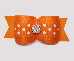 "#3003 - 5/8"" Dog Bow - Vibrant Orange w/Dots, Rhinestone"