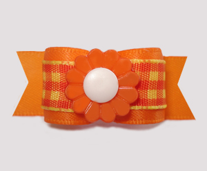 "#3005 - 5/8"" Dog Bow - Autumn Candy Corn Plaid, Orange Daisy"