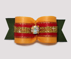 "#3007 - 5/8"" Dog Bow- Autumn Glory, Golden Yellow/Red/Green"
