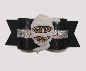 "#3011 - 5/8"" Dog Bow - Marvellous Mummy, Midnight Black/Silver"