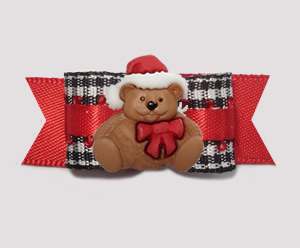 "#3012- 5/8"" Dog Bow- Classic B/W Gingham on Red, Christmas Teddy"
