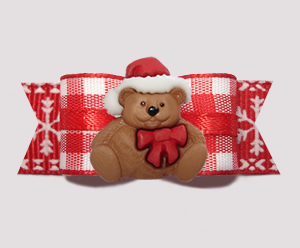 "#3017 - 5/8"" Dog Bow - Country Winter, Christmas Teddy"