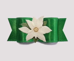 "#3021 - 5/8"" Dog Bow - Rich Green Satin, Ivory Poinsettia"