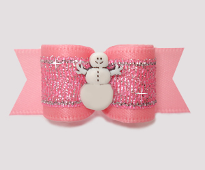 "#3024 - 5/8"" Dog Bow - Pretty Pink, Winter Shimmer, Snowman"