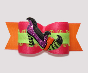 "#3026 - 5/8"" Dog Bow - A Pop of Colors with Fancy Witch's Shoe"