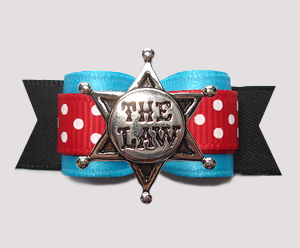 "#3036- 5/8"" Dog Bow - Blue/Red/Black, Sheriff's Star, ""The Law"""