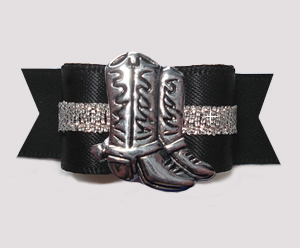 "#3038- 5/8"" Dog Bow- Classic Black/Silver, Country Western Boots"