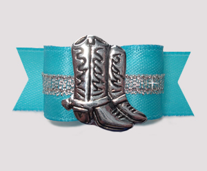 "#3039- 5/8"" Dog Bow- Electric Blue/Silver, Country Western Boots"