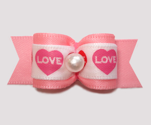 "#3046 - 5/8"" Dog Bow - Love Hearts, Pretty Pink"