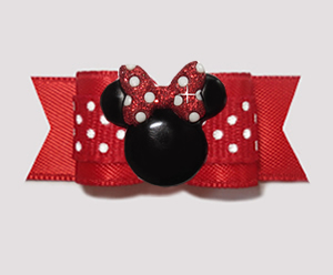 "#3047 - 5/8"" Dog Bow - Classic Red/White Dots, Minnie Mouse"