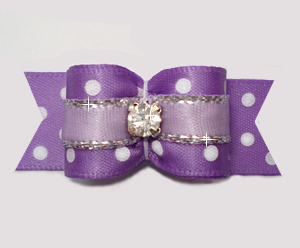 "#3049 - 5/8"" Dog Bow - Little Sugar, Dots w/Silver & Rhinestone"