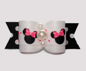"#3050 - 5/8"" Dog Bow - Cute Minnie Mouse on Bold B/W Dots"