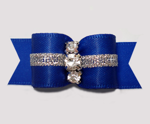 "#3052 - 5/8"" Dog Bow - Royal Blue w/Silver, 3 Rhinestones"