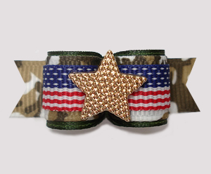 "#3053 - 5/8"" Dog Bow - Patriotic Camouflage Print with Star"