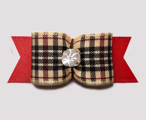 "#3054 - 5/8"" Dog Bow - Classic Designer Plaid on Red, Rhinestone"