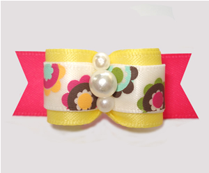 "#3056 - 5/8"" Dog Bow - Funky Flowers, Sunny Yellow/Hot Pink"
