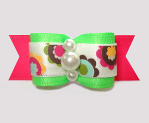 "#3057 - 5/8"" Dog Bow - Funky Flowers, Lime/Hot Pink"