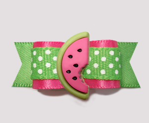 "#3063 - 5/8"" Dog Bow- Pink/Summer Green w/Dots, Sweet Watermelon"